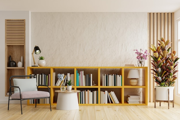 Design de interiores da sala de estar com poltrona na parede branca clara vazia, sala da biblioteca. renderização 3d