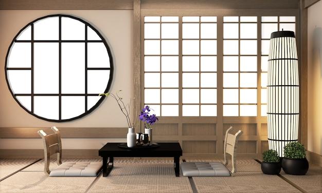 Design de interiores da sala de ryokan no piso de tatami, renderização em 3d