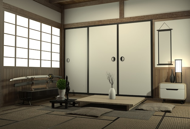 Design de interiores da sala de visitas com o armário no projeto da parede da prateleira e no estilo de japão da decoração.