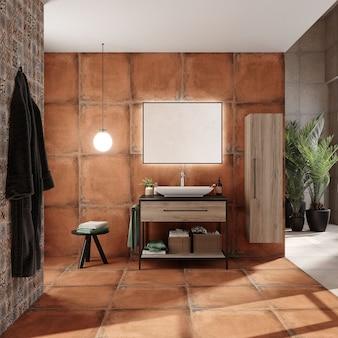 Design de interiores de banheiro com gabinete e prateleira, renderização 3d