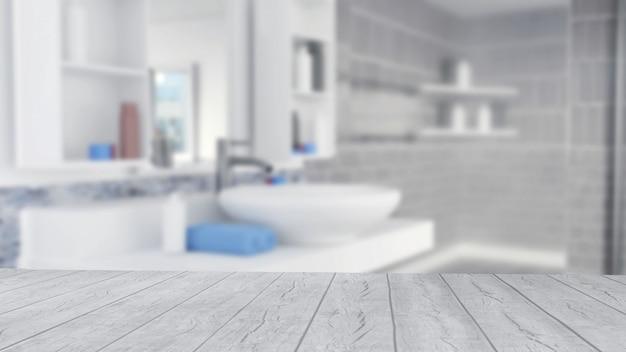 Design de interiores de banheiro com toalhas azuis e piso de madeira vazio