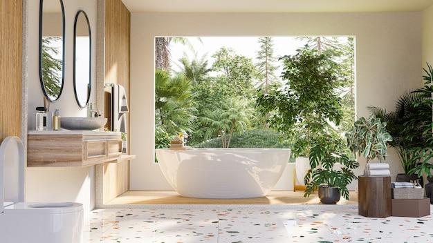 Design de interiores de banheiro moderno na parede branca, renderização em 3d