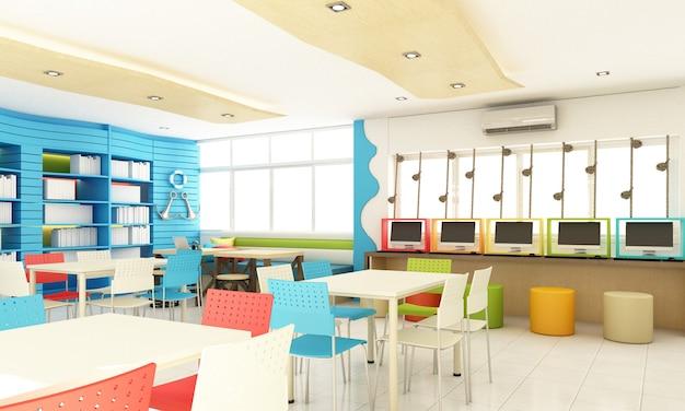Design de interiores de biblioteca escolar de crianças para o aluno com colorido e madeira. diversão e conceito do oceano renderização em 3d
