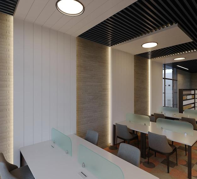 Design de interiores de biblioteca moderna com mesa, cadeira e estante de livros, renderização 3d