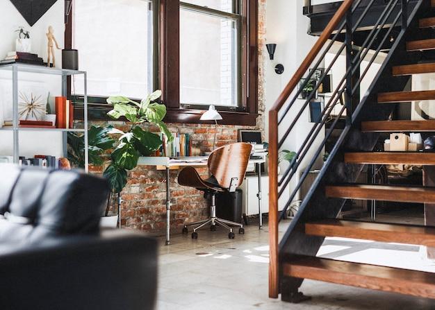 Design de interiores de casa de madeira vintage