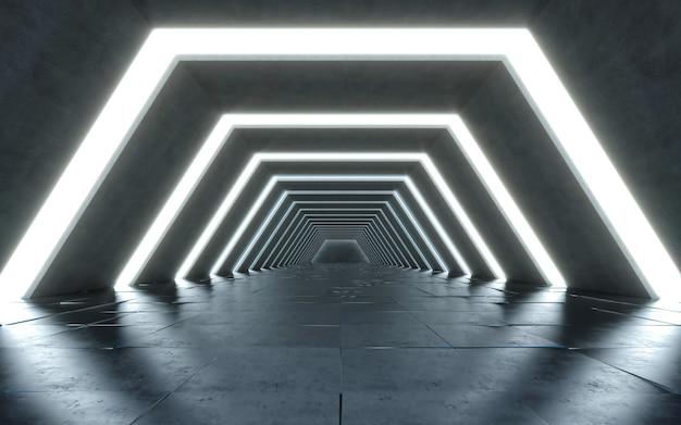 Design de interiores de corredor iluminado. futuro cocept. renderização 3d