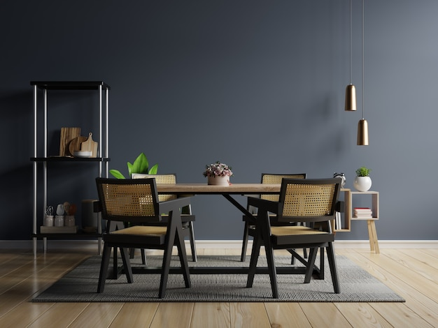 Design de interiores de cozinha de estilo moderno com parede azul escura.