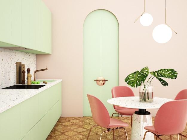 Design de interiores de cozinha em estilo moderno. renderização 3d. ilustração 3d.