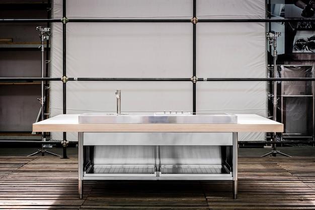 Design de interiores de cozinha moderna em estilo minimalista