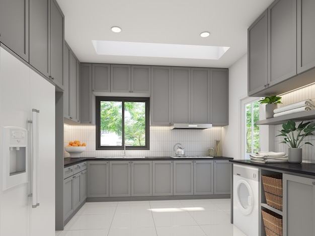 Design de interiores de cozinha, renderização em 3d