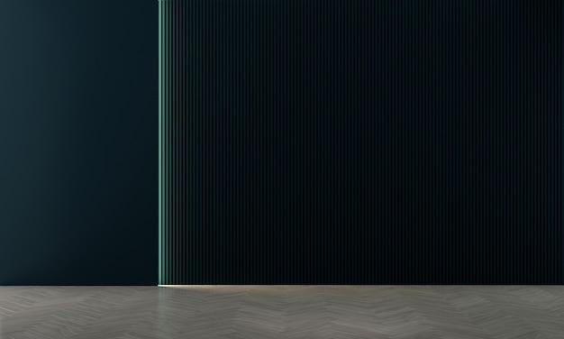 Design de interiores de decoração viva e fundo de textura de parede vazia em azul