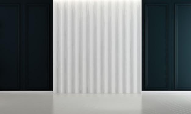 Design de interiores de decoração viva e fundo de textura de parede vazia em branco e azul