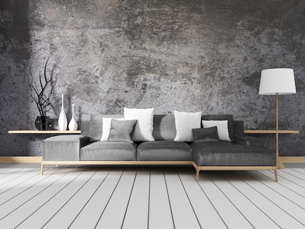 Design de interiores de estilo loft. renderização 3d