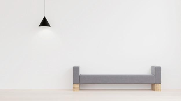 Design de interiores de estilo minimalista, parede branca, tecido e sofá de madeira