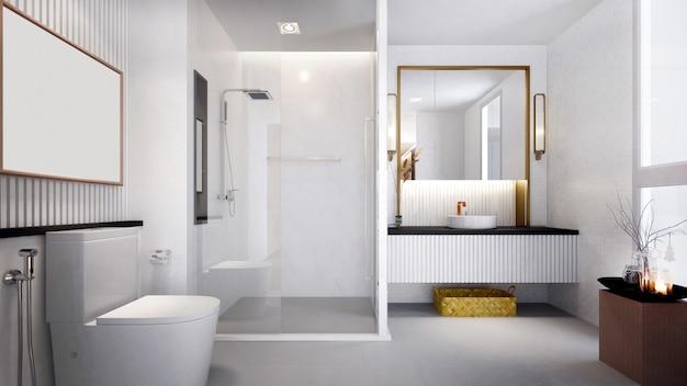 Design de interiores de luxo moderno da casa de banho e wc
