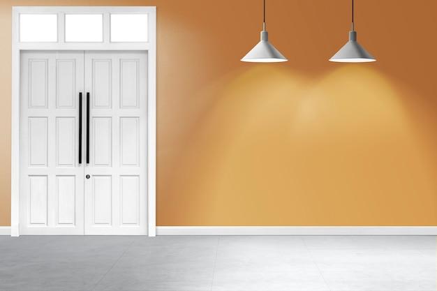 Design de interiores de quarto amarelo vazio com lâmpadas de teto