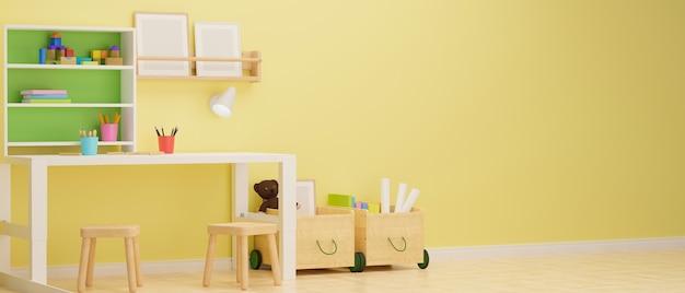 Design de interiores de quarto infantil com estante de papelaria de mesa de estudo e brinquedos na sala com renderização 3d de parede amarela pastel