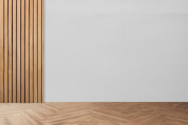 Design de interiores de quarto minimalista vazio com piso de espinha de peixe