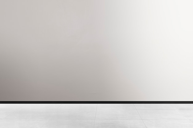 Design de interiores de quarto minimalista vazio em tons de preto e branco