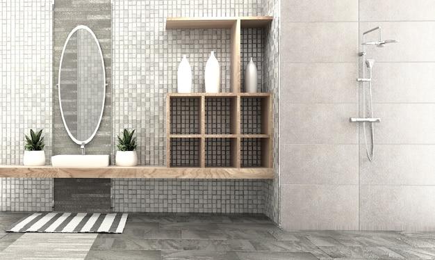 Design de interiores de sala de banho - estilo moderno. renderização em 3d
