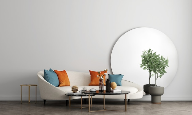 Design de interiores de sala de estar branca moderna de meados do século com decoração e fundo de simulação de parede vazia, renderização 3d, ilustração 3d