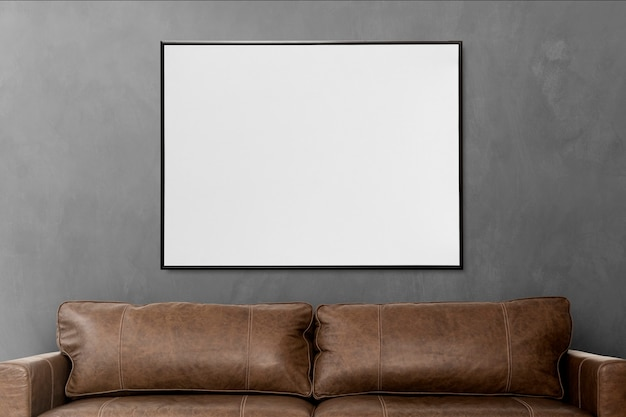 Design de interiores de sala de estar de loft com moldura em branco