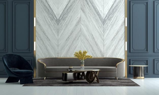 Design de interiores de sala de estar de luxo e fundo de parede com textura branca