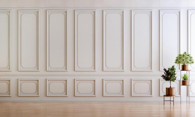 Design de interiores de sala de estar de luxo e fundo de parede padrão branco vazio
