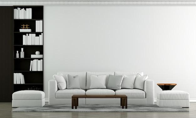 Design de interiores de sala de estar de luxo e sofá branco e fundo de parede com padrão azul