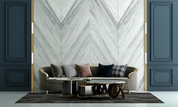 Design de interiores de sala de estar de luxo moderno e fundo de parede com textura de mármore branco