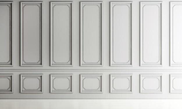 Design de interiores de sala de estar de luxo moderno e fundo de parede vazio de padrão branco