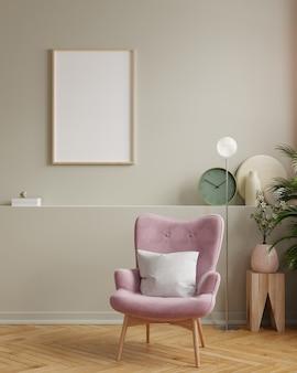 Design de interiores de sala de estar moderna com renderização em parede vazia escura.