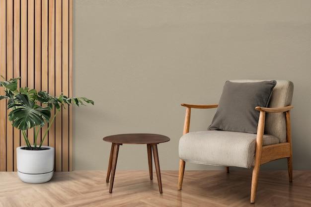 Design de interiores de sala de estar moderna de meados do século com árvore monstera