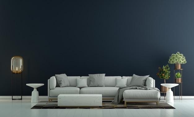 Design de interiores de sala de estar moderna e fundo de parede vazio de textura azul