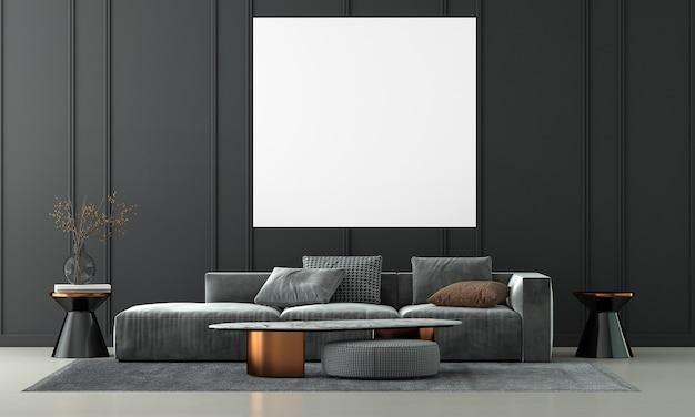 Design de interiores de sala de estar moderna e moldura de lona vazia em fundo de parede de textura preta