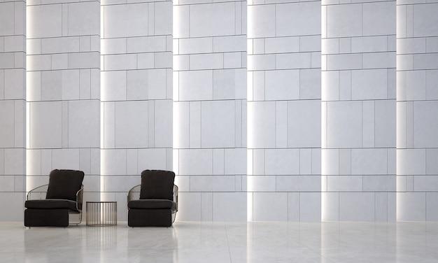 Design de interiores de sala de estar moderna e parede de concreto branca estampada