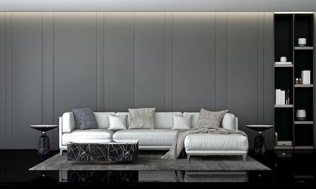 Design de interiores de sala de estar moderna e sofá branco e decoração de plantas e fundo de parede cinza vazio. renderização em 3d