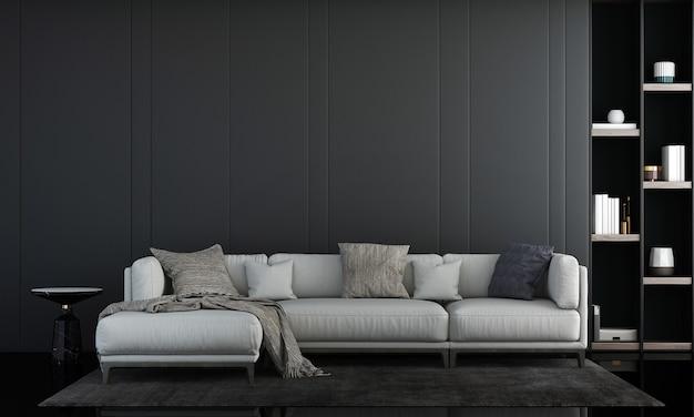 Design de interiores de sala de estar moderna e sofá branco e decoração de plantas e fundo de parede vazio renderização em 3d