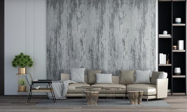 Design de interiores de sala de estar moderna e sofá de couro e plantas e fundo de parede de concreto vazio. renderização 3d