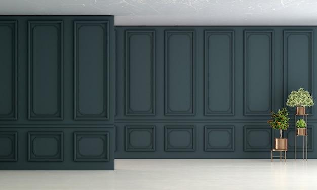 Design de interiores de sala de estar vazia e fundo de parede padrão azul