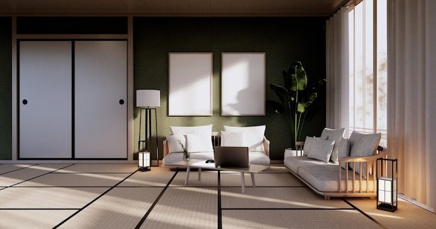 Design de interiores de sala de estar verde. renderização 3d