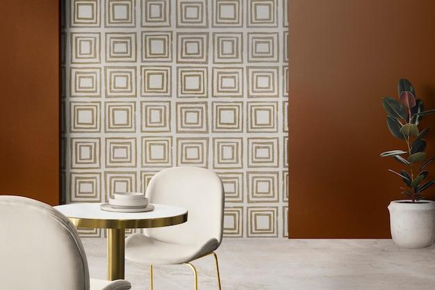 Design de interiores de sala de jantar autêntica e luxuosa moderna