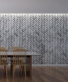 Design de interiores de sala de jantar bonito mínimo e fundo de textura de parede de tijolo