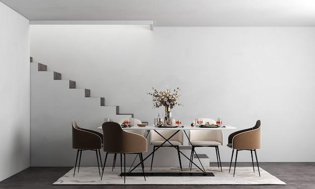 Design de interiores de sala de jantar com elegantes cadeiras modulares de madeira, mesas de madeira, plantas, divisória neutra, decoração e acessórios elegantes.