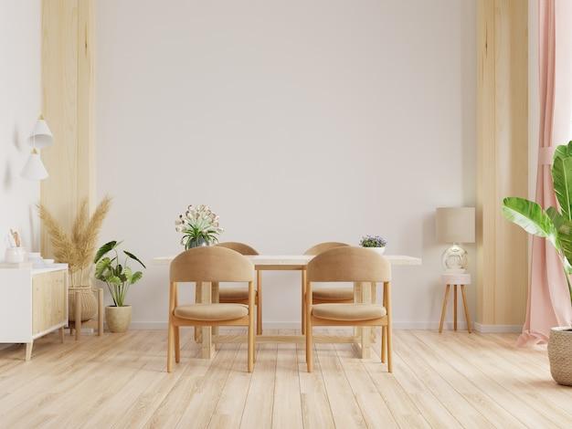Design de interiores de sala de jantar moderna com parede branca. renderização 3d