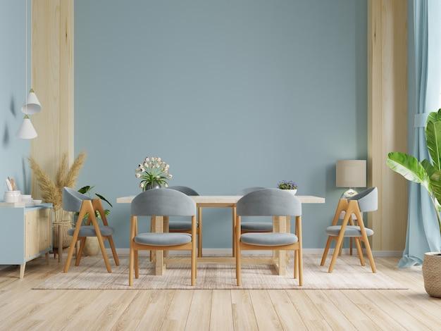 Design de interiores de sala de jantar moderna com parede de cor azul escura. renderização 3d