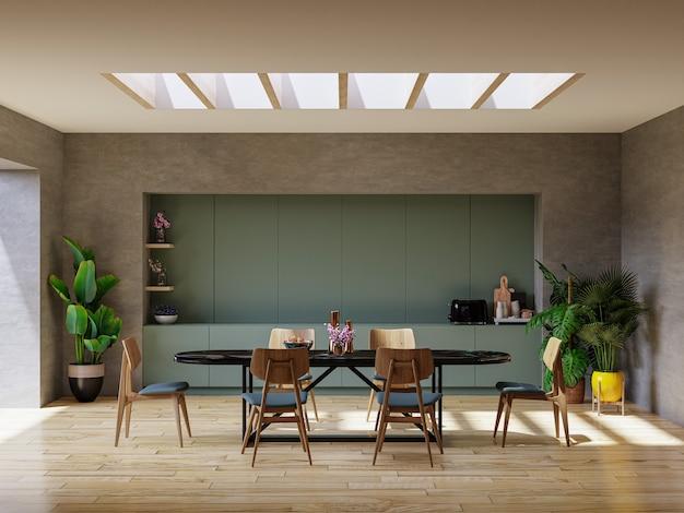 Design de interiores de sala de jantar moderna com renderização em parede de concreto em 3d