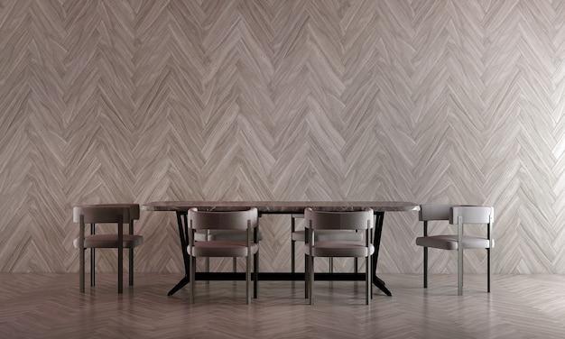 Design de interiores de sala de jantar moderna e fundo de parede de textura de madeira