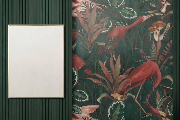 Design de interiores de sala de jantar tropical autêntica com moldura em branco