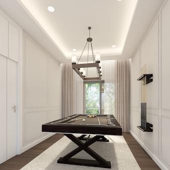 Design de interiores de sala de sinuca. renderização 3d